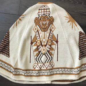 Vintage Southwestern Boho Sweater Poncho Mayan